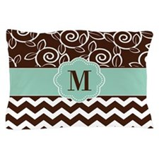 Brown Green Chevron Scroll Monogram Pillow Case