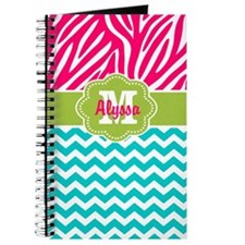 Pink Blue Green Zebra Chevron Personalized Journal