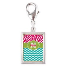 Pink Blue Green Zebra Chevron Personalized Charms