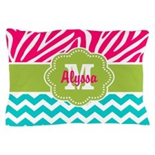 Pink Blue Green Zebra Chevron Personalized Pillow