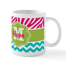 Pink Blue Green Zebra Chevron Personalized Mugs