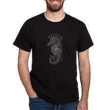 Intricate Gray Tribal Seahorse T-Shirt