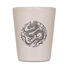 Traditional Gray Chinese Dragon Circle Shot Glass