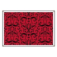 Red And Black Damask Pattern Banner
