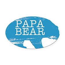 Papa Bear Oval Car Magnet