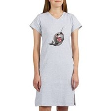 Cute Narwhal with Donut Women's Nightshirt