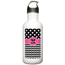 Pink Black Dots Chevron Personalized Water Bottle