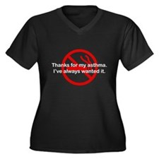 Thanks For My Asthma Women's Plus Size V-Neck Dark