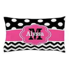 Pink Black Dots Chevron Personalized Pillow Case