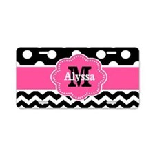 Pink Black Dots Chevron Personalized Aluminum Lice