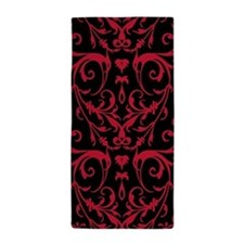 Black And Red Damask Pattern Beach Towel