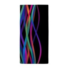 Color Waves Black Beach Towel