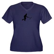 Hockey playe Women's Plus Size V-Neck Dark T-Shirt
