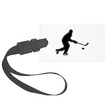 Hockey player puck Luggage Tag