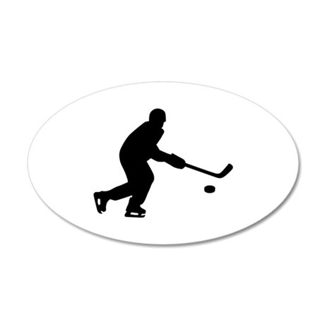 Hockey player puck 35x21 Oval Wall Decal