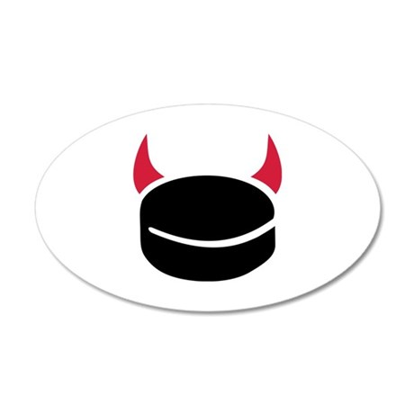 Hockey devil puck 20x12 Oval Wall Decal