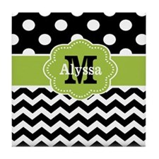 Black Green Dots Chevron Personalized Tile Coaster