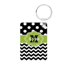 Black Green Dots Chevron Personalized Keychains
