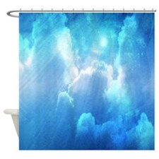 Blue Sun And Clouds Shower Curtain