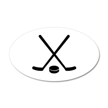 Hockey sticks puck 20x12 Oval Wall Decal
