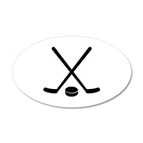Hockey sticks puck 35x21 Oval Wall Decal