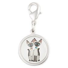 Siamese Cats Silver Round Charm