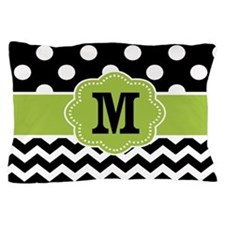Black Green Dots Chevron Monogram Pillow Case