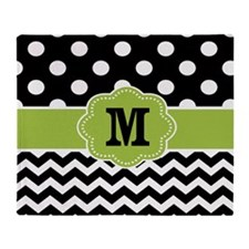 Black Green Dots Chevron Monogarm Throw Blanket