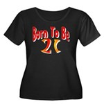 Born To Be 21 Women's Plus Size Scoop Neck Dark T-