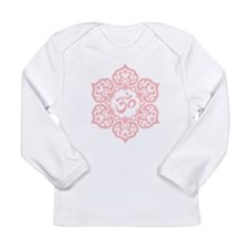 Pink Lotus Flower Yoga Om Long Sleeve T-Shirt