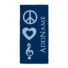 Peace Love Music - Personalized Beach Towel