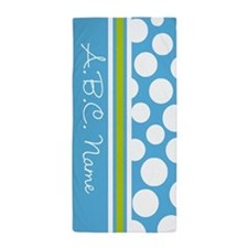 Sky Blue & Green Polka Dots & Monogram Beach Towel