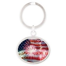 4th of July Oval Keychain