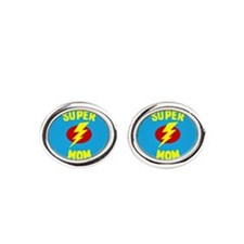 Super Mom Supermom Oval Cufflinks