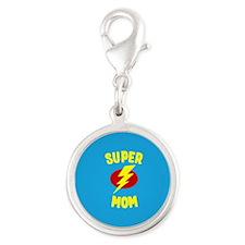Super Mom Supermom Silver Round Charm