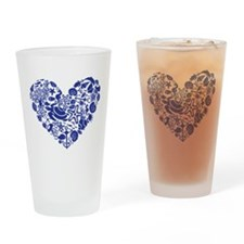 Blue Seahorse Heart Drinking Glass