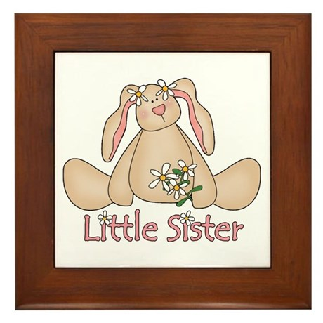 Daisy Bunny Little Sister Framed Tile