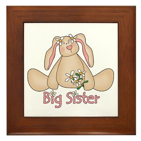 Daisy Bunny Big Sister Framed Tile