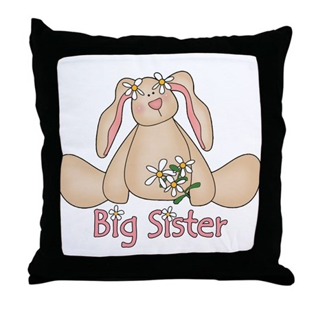 Daisy Bunny Big Sister Throw Pillow
