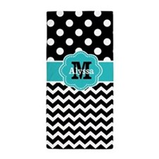 Teal Black Dots Chevron Personalized Beach Towel