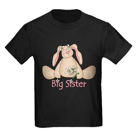 Daisy Bunny Big Sister Kids Dark T-Shirt