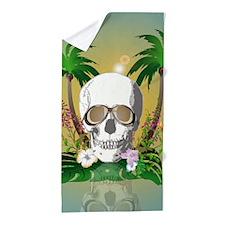 Skull with sunglasses Beach Towel