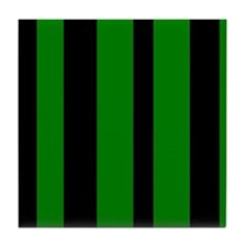 Black And Green Vertical Stripes Tile Coaster