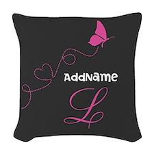 Custom Monogram Butterfly Woven Throw Pillow