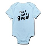 Triplets B1G2 Free Funny Baby Bodysuit