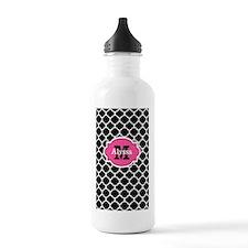 Black Pink Quatrefoil Personalized Water Bottle