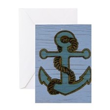 nautical deck vintage anchor Greeting Cards