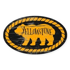 Yellowstone Rustic Bear Gold Sticker (oval)
