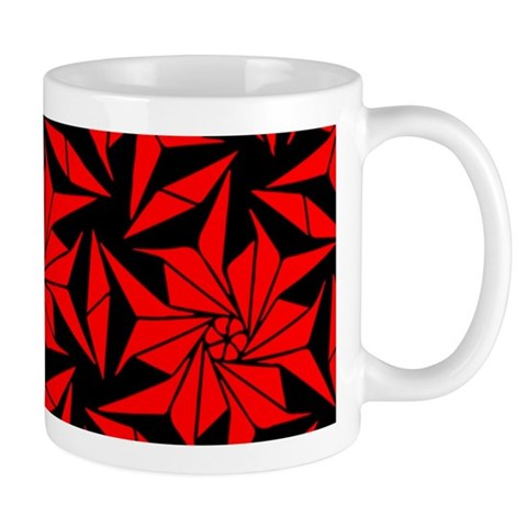 Red and Black Geometric Floral Mug