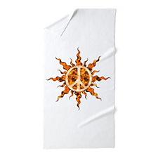 Flaming Peace Sun Beach Towel